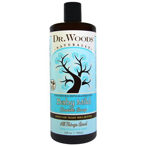 Dr. Woods, Baby Mild, Castile Soap with Fair Trade Shea Butter, Unscented, 32أونصة سائلة (946 مل)