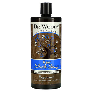 Dr. Woods, Raw Black Soap with Fair Trade Shea Butter, Peppermint, 32 fl oz (946 ml)