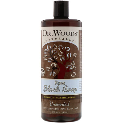 Купить Dr. Woods Raw Black Soap with Fair Trade Shea Butter, Unscented, 32 fl oz (946 ml)