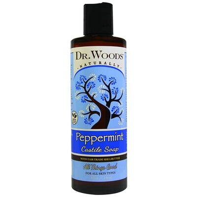 Купить Dr. Woods Мятное кастильское мыло с маслом ши, произведенным с соблюдением принципов справедливой торговли, 8 жидких унций (236 мл)