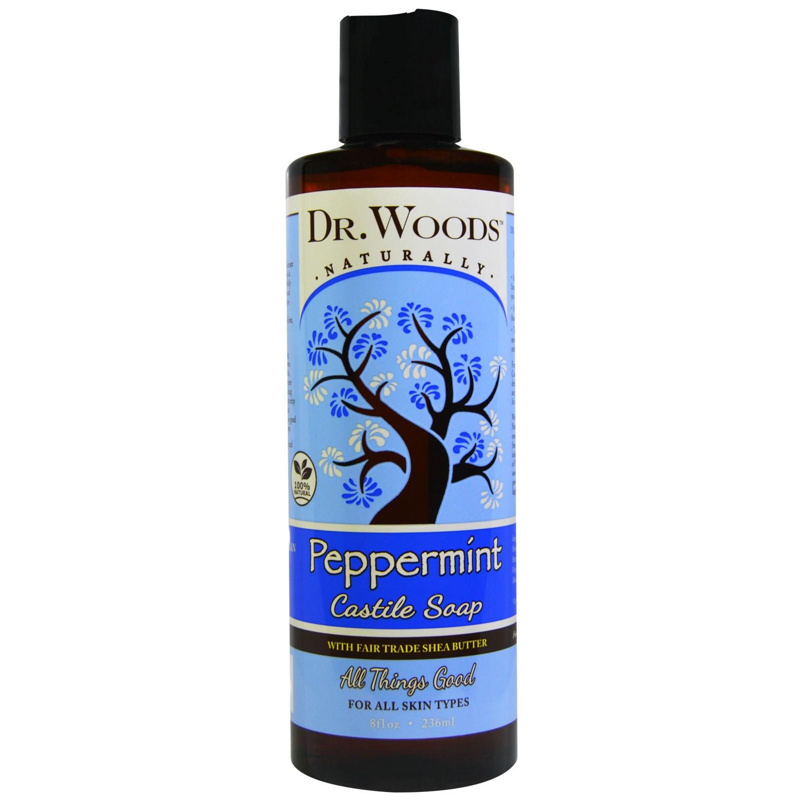 Dr. Woods, Мятное кастильское мыло с маслом ши, произведенным с соблюдением принципов справедливой торговли, 8 жидких унций (236 мл)