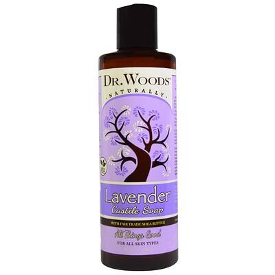 Dr. Woods Лаванда, кастильское мыло с маслом ши, соответствующим стандартам справедливой торговли, 8 жидких унций (236 мл)  - купить со скидкой