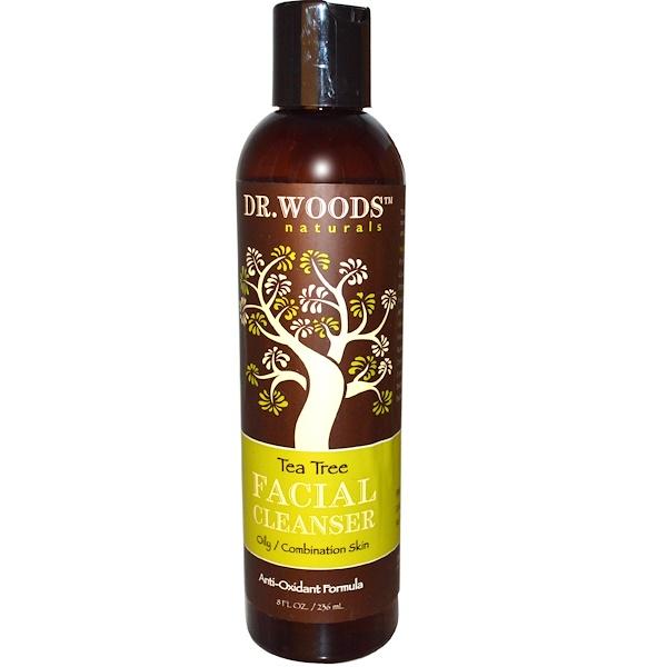 Dr. Woods, Limpiador Facial, Árbol de Té, 8 fl oz (236 ml)