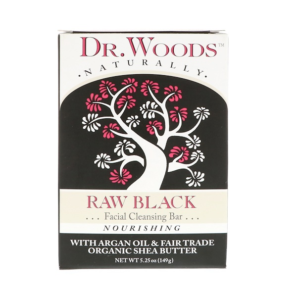 Dr. Woods, Raw Black Soap, Facial Cleansing Bar, 5.25 oz (149 g)