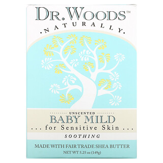 Dr. Woods, Baby Mild Bar Soap, Soothing, Unscented, 5.25 oz (149 g)