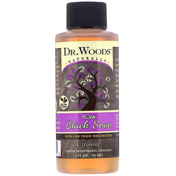 Dr. Woods, Raw Black Soap, with Fair Trade Shea Butter, Original, 2 fl oz (59 ml) (Discontinued Item)