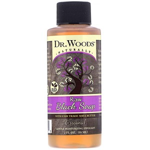 Dr. Woods, Raw Black Soap, with Fair Trade Shea Butter, Original, 2 fl oz (59 ml)