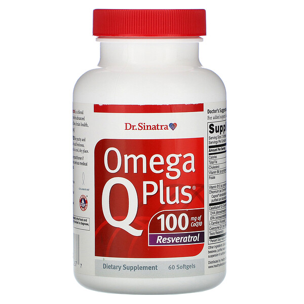 Omega Q Plus 100, Resveratrol, 60 Softgels
