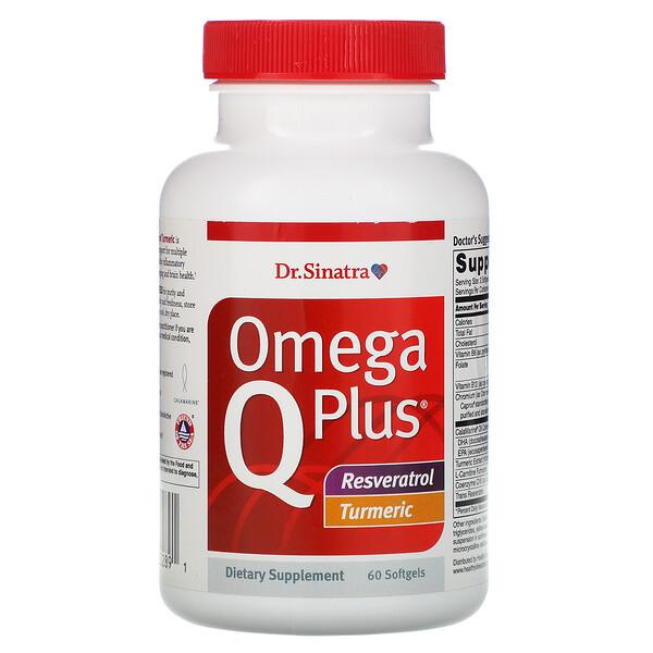 Omega Q Plus, Resveratrol Turmeric, 60 Softgels