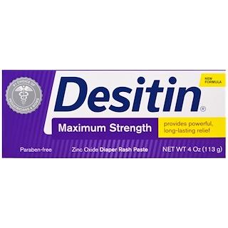 Desitin, Мазь от раздражения кожи под подгузниками, сильнодействующая, 113 г (4 унций)