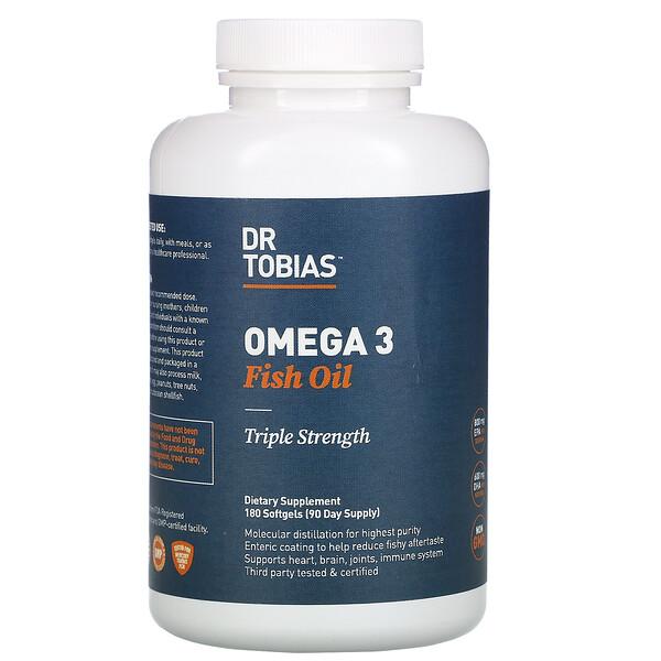 欧米伽3 鱼油,三倍功效,180 粒软凝胶