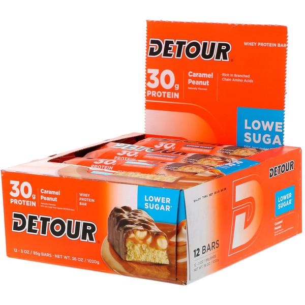 Detour, Whey Protein Bars, Caramel Peanut, 12 Bars, 3 oz (85 g) Each