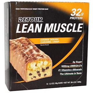 Detour, Lean Muscle Bars, Cookie Dough Caramel Crisp, 12 Bars, 3.2 oz (90 g) Each