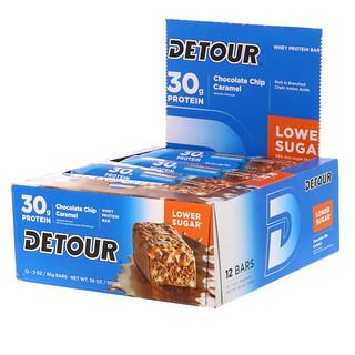 Detour, ホエイプロテインバー、 チョコレートチップキャラメル、 12本、 各3オンス (85 g)