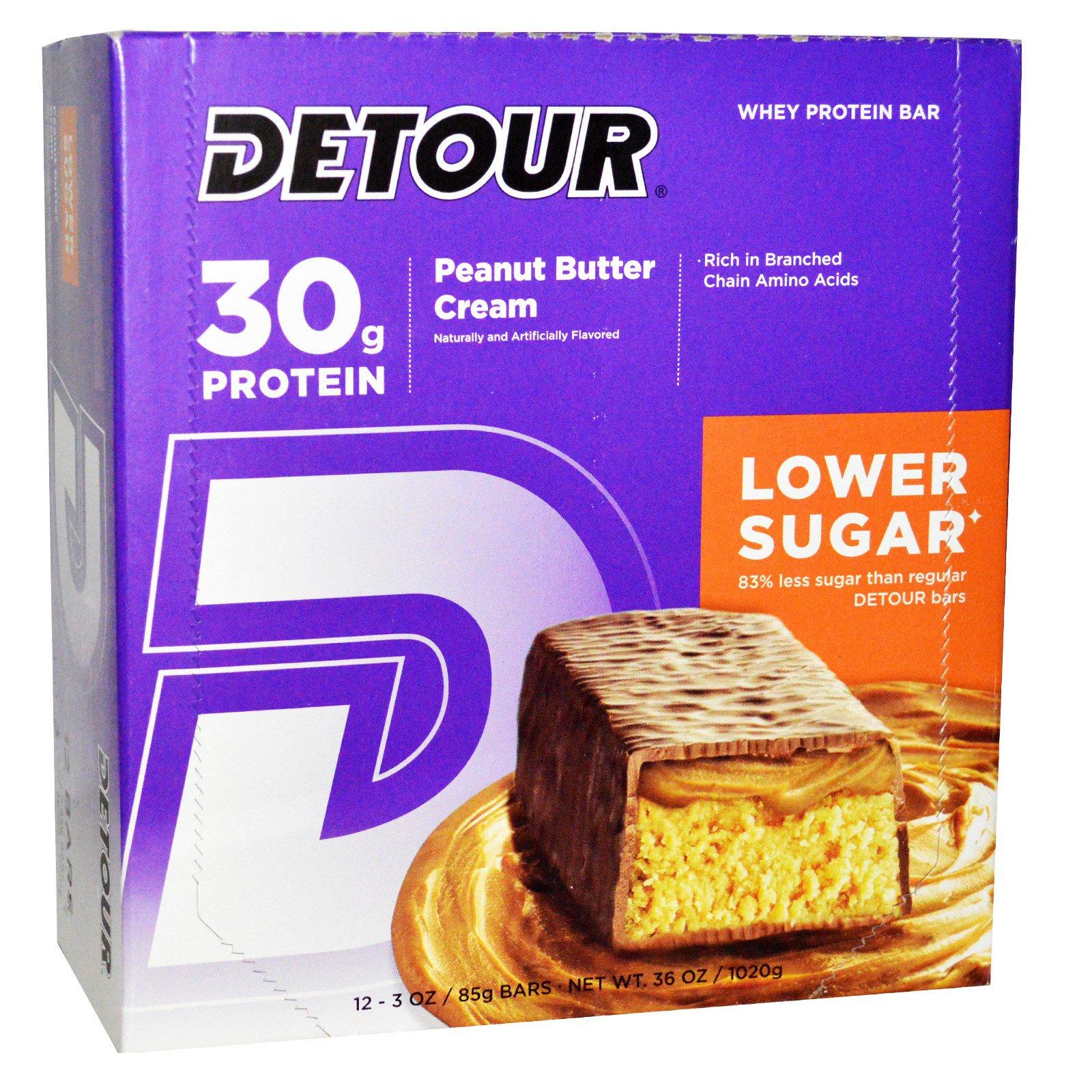 Detour, Батончики из сывороточного белка с арахисовым маслом и сливками, 12 батончиков по 3 унции (85 г) каждый