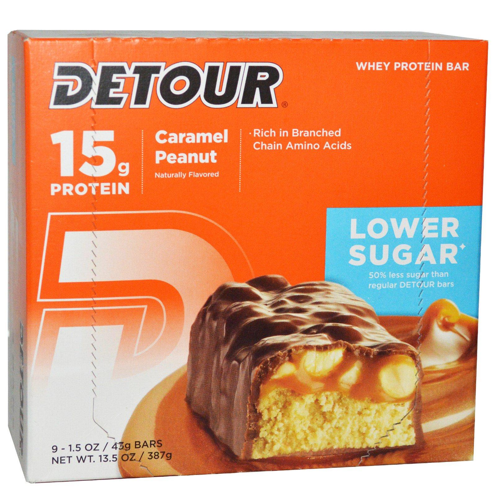 Detour, Батончики из сывороточного белка со вкусом карамели и арахиса, 9 батончиков, 1,5 унции (43 г) каждый