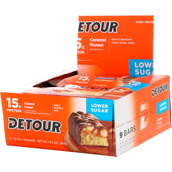 Detour, Whey Protein Bar, Caramel Peanut, 9 Bars, 1.5 oz (43 g) Each