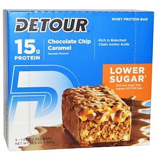 Detour, Whey Protein Bar, Chocolate Chip Caramel, 9 Bars, 1.5 oz (43 g) Each