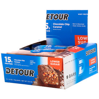 Detour, 乳清タンパク質バー, チョコレートチップキャラメル, 9バー, 各1.5オンス (43 g)