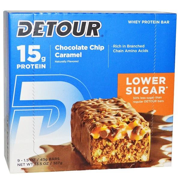 Detour, 乳清蛋白塊,巧克力片焦糖,9塊,每塊1、5盎司(43克)