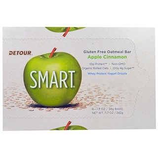 Detour, Gluten Free Oatmeal Bar, Apple Cinnamon, 9 Bars 1.3 oz (38 g) Each