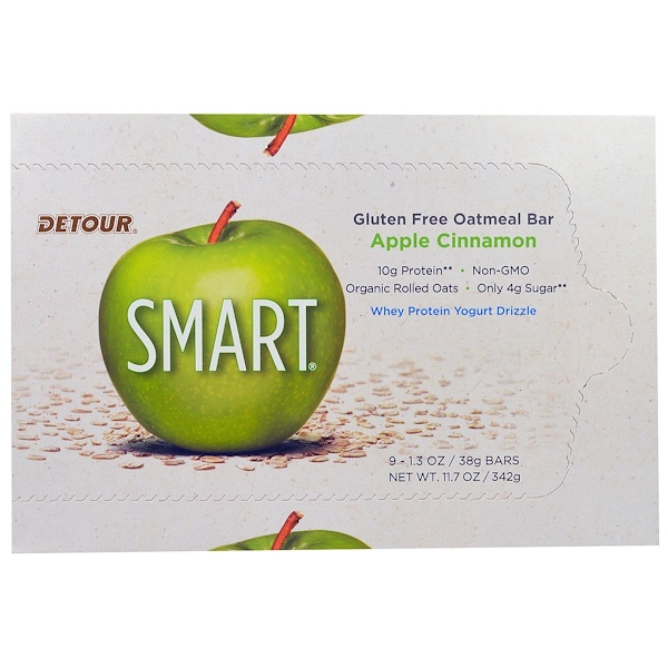 Detour, Gluten Free Oatmeal Bar, Apple Cinnamon, 9 Bars 1.3 oz (38 g) Each (Discontinued Item)