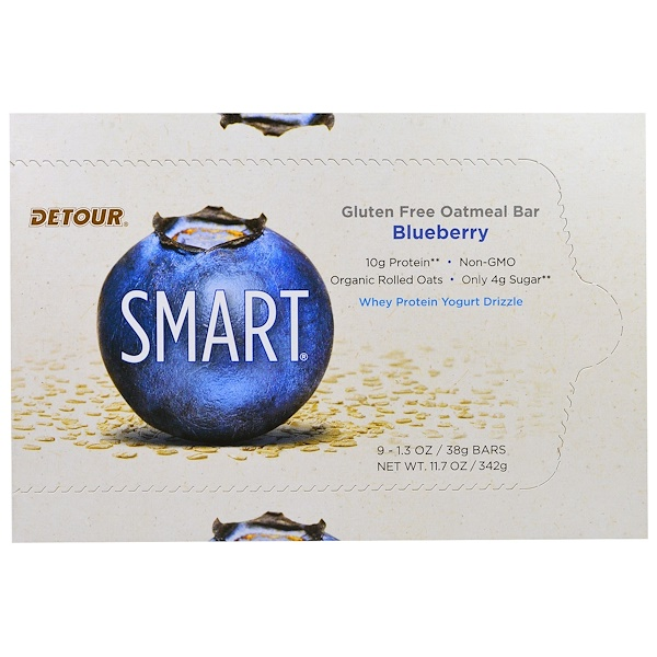 Detour, Gluten Free Oatmeal Bar, Blueberry, 9 Bars, 1.3 oz (38 g) Each (Discontinued Item)