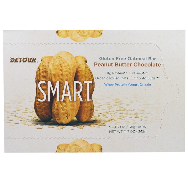 Detour, Gluten Free Oatmeal Bar, Peanut Butter Chocolate, 9 Bars, 1.3 oz (38 g) Each (Discontinued Item)