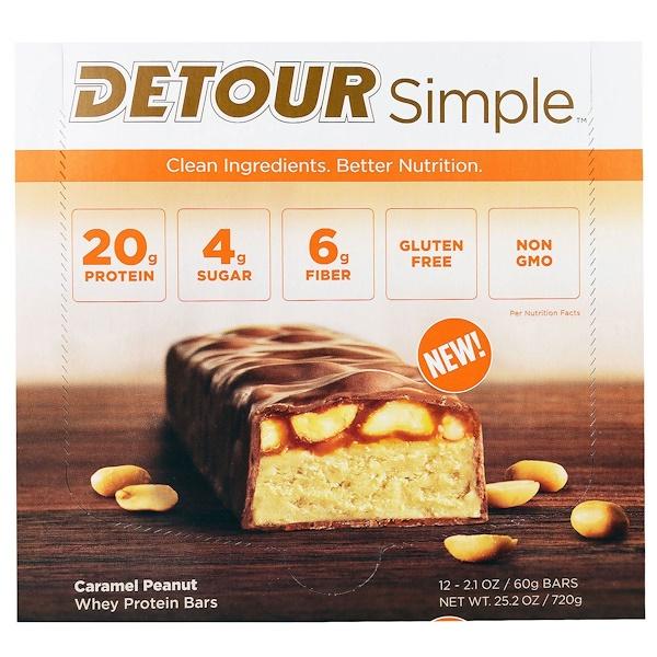 Detour, Simple, Whey Protein Bars, Caramel Peanut, 12 Bars, 2.1 oz (60 g) Each (Discontinued Item)