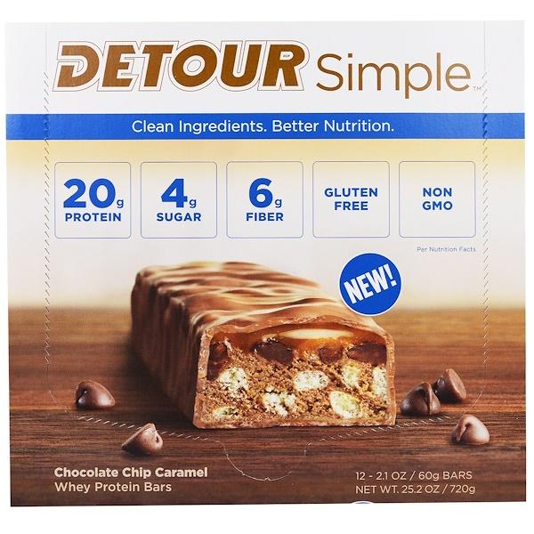 Detour, Simple, Whey Protein Bar, Chocolate Chip Caramel, 12 Bars, 2.1 oz (60 g) Each (Discontinued Item)