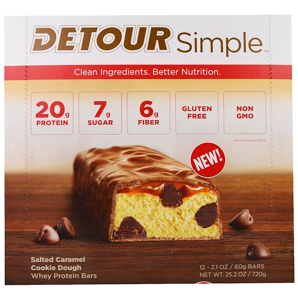 Detour, Simple, Whey Protein Bars, Salted Caramel Cookie Dough, 12 Bars, 2.1 oz (60 g) Each (Discontinued Item)