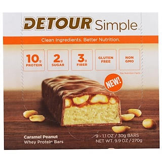 Detour, Simple, Whey Protein Bars, Caramel Peanut, 9 Bars, 1.1 oz (30 g) Each