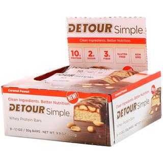 Detour, Simple, Батончики  с Сывороточным Белком, Арахисовая Карамель, 9 батончиков по 1,1 унции (30 г) каждый