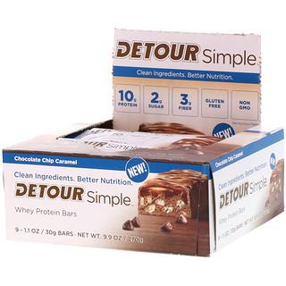 Detour, シンプル、ホエイ・プロテインバー、チョコレートチップ・キャラメル、9本、各30g
