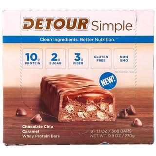 Detour, Simple, Whey Protein Bars, Chocolate Chip Caramel, 9 Bars, 1.1 oz (30 g) Each