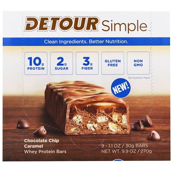 Detour, 簡單,乳清蛋白棒,巧克力片焦糖,9個,1、1盎司(30克)每個