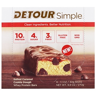 Detour, Simple, Whey Protein Bars, Salted Caramel Cookie Dough, 9 Bars, 1.1 oz (30 g) Each