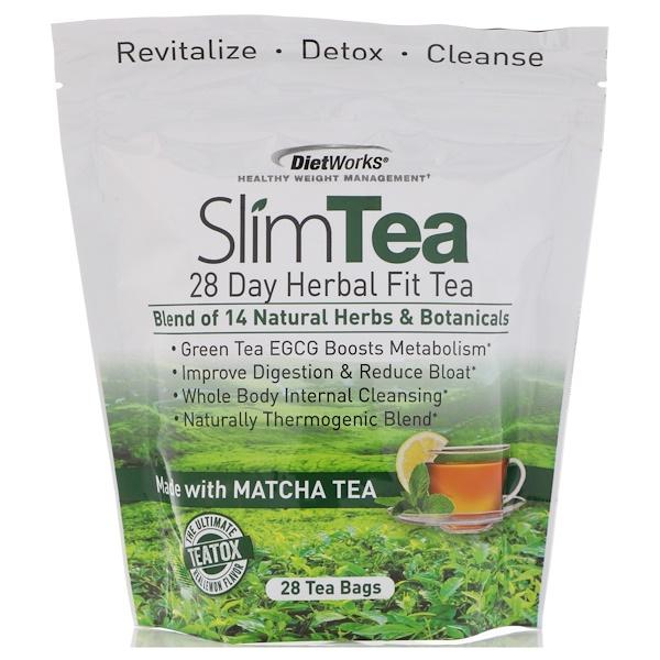 DietWorks, 苗條茶,28 日草本減肥茶,檸檬味,28 個茶包