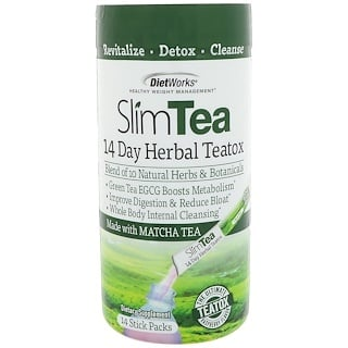 DietWorks, Slim Tea, 14 Day Herbal Teatox, Matcha Tea, Raspberry Flavor, 14 Stick Packs