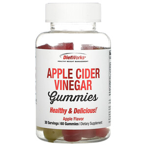 DietWorks, Apple Cider Vinegar Gummies, Apple Flavor, 60 Gummies
