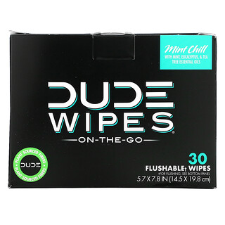 Dude Products, Wipes, On-The-Go, Flushable Wipes, Mint Chill, 30 Individually Wrapped Wipes, (5.7 x 7.8 in) Each