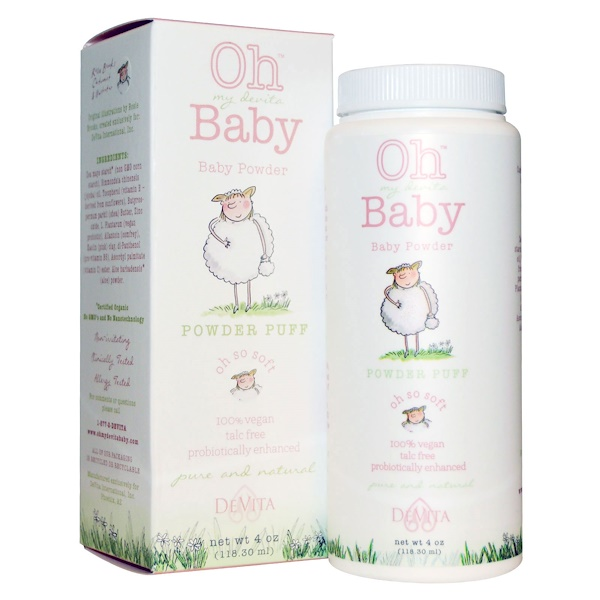 DeVita, Oh My Devita Baby, Baby Powder, Powder Puff, 4 oz (118.30 ml) (Discontinued Item)