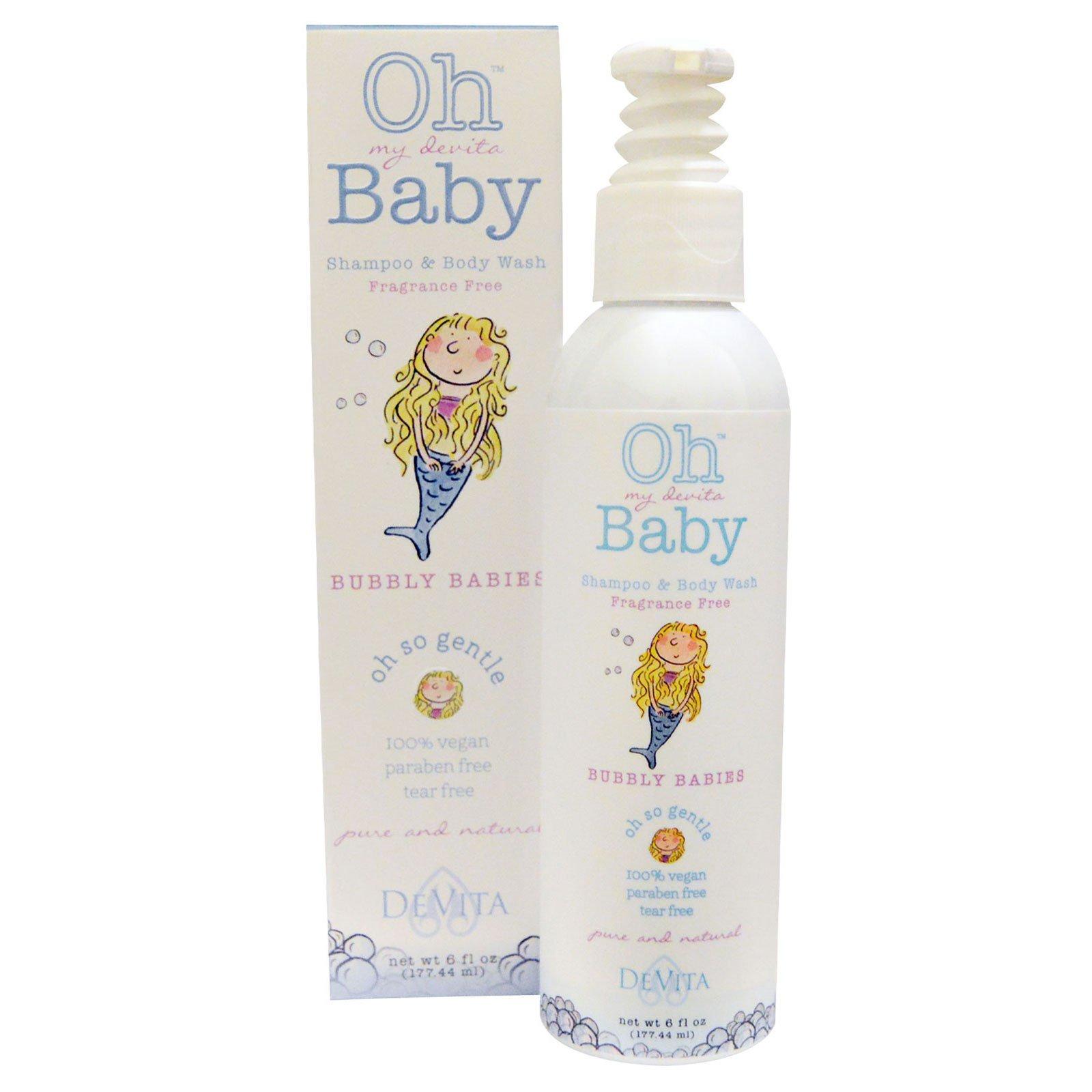DeVita, Oh My Devita Baby, шампунь для волос и тела, Bubbly babies, без отдушек, 6 жидких унций (177.44 мл)