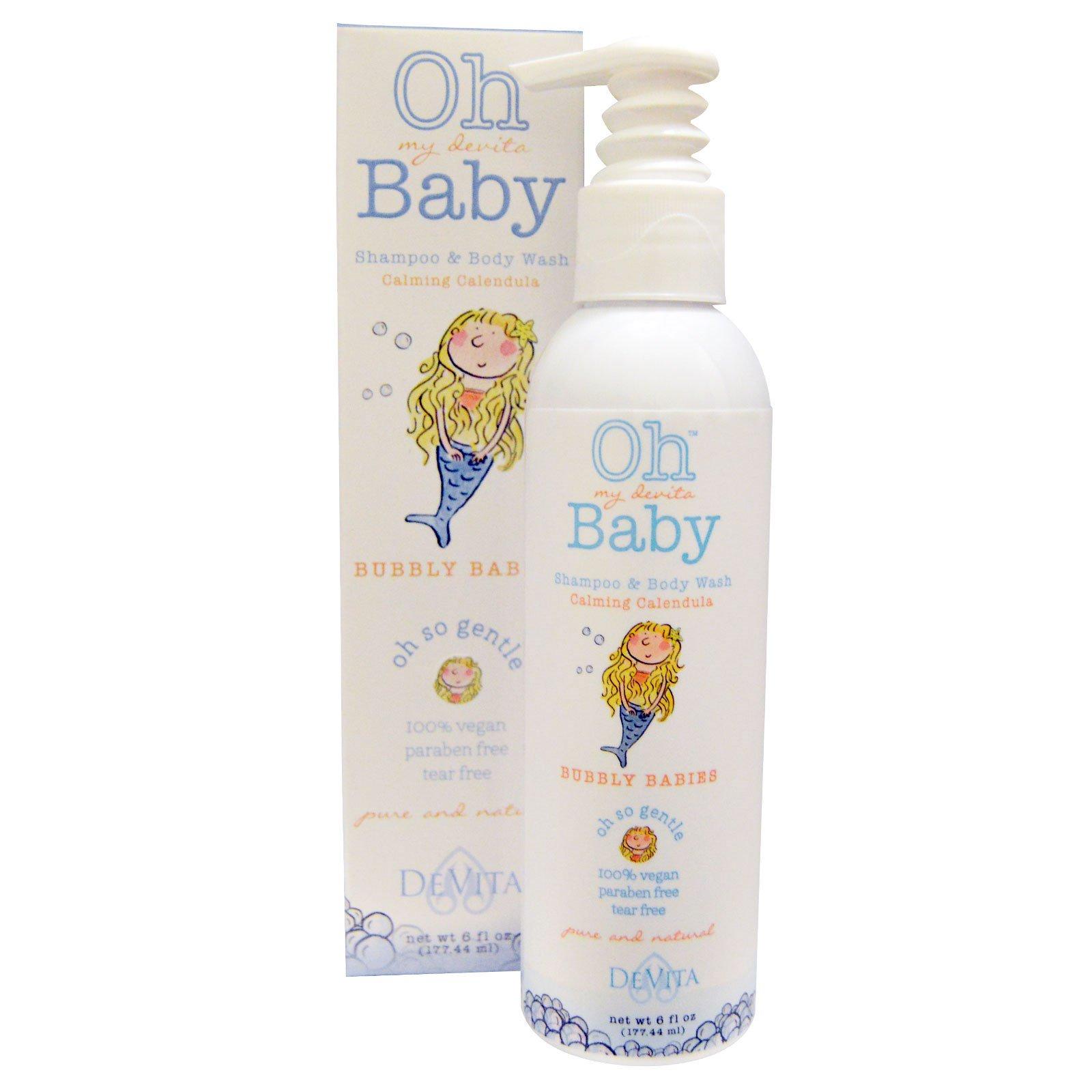 DeVita, Oh My Devita Baby, шампунь для волос и тела, Bubbly babies, Успокаивающая календула, 6 жидких унций (177.44 мл)