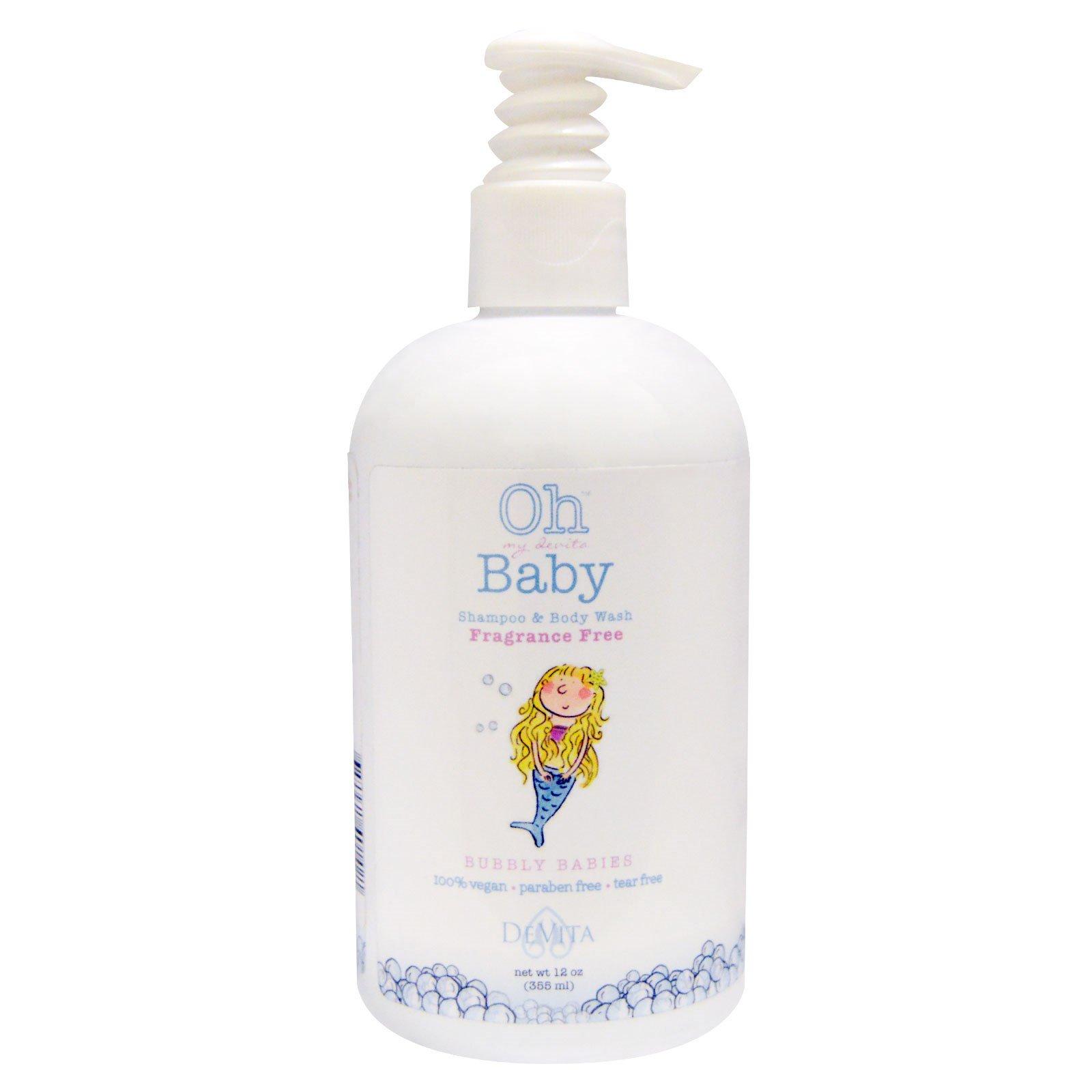 DeVita, Oh My Devita Baby, шампунь для волос и тела, Bubbly babies, без отдушек, 12 жидких унций (355 мл)