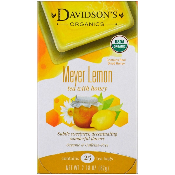 Davidson's Tea, 유기농, Meyer Lemon Tea with Honey, 무카페인, 25 티백, 2.18 oz (62 g) (Discontinued Item)