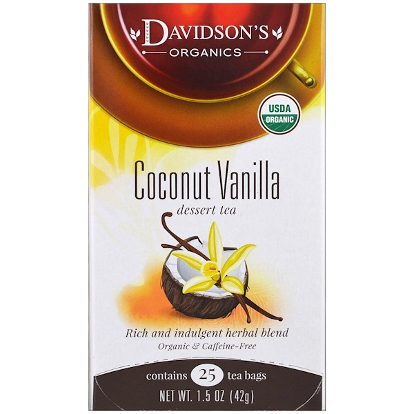 Davidson's Tea, Organic, Coconut Vanilla Dessert Tea, Caffeine-Free, 25 Tea Bags, 1.5 oz (42 g) (Discontinued Item)