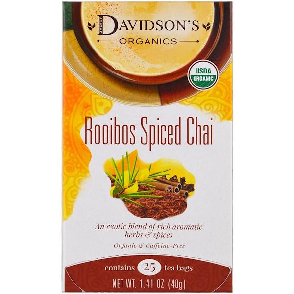 Davidson's Tea, Organic, Rooibos Spiced Chai, Caffeine-Free, 25 Tea Bags, 1.41 oz (40 g) (Discontinued Item)
