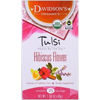 Davidson's Tea, Tulsi, Organic, Hibiscus Flower Tea, Caffeine-Free, 25 Tea Bags, 1.58 oz (45 g)