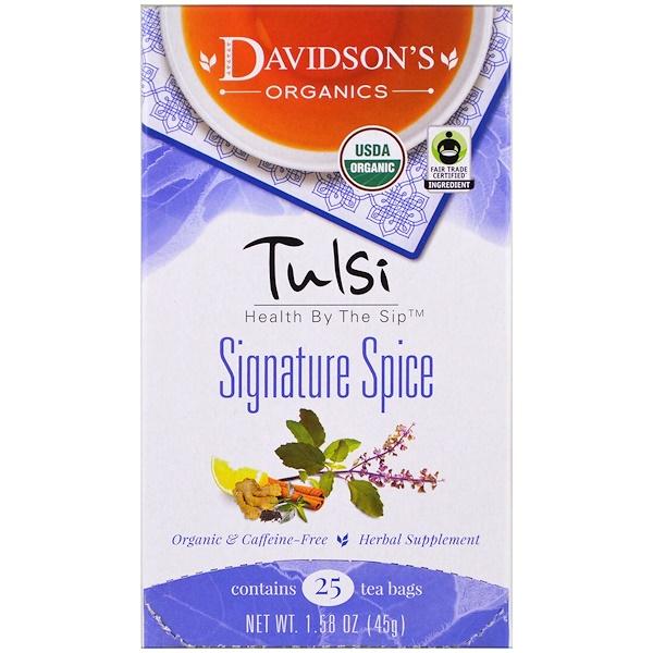Davidson's Tea, 圖爾西茶,標誌性香料,無咖啡因,25茶包,1、58盎司(45克)